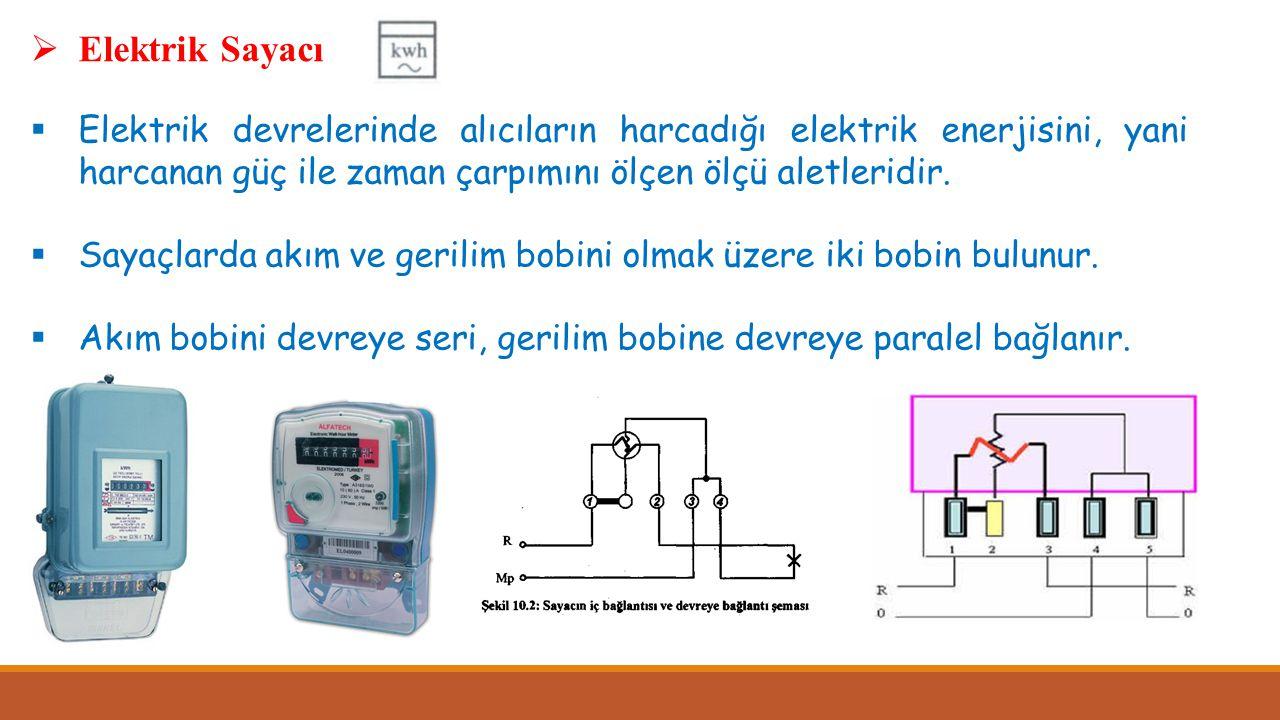  Elektrik Sayacı  Elektrik devrelerinde alıcıların harcadığı elektrik enerjisini, yani harcanan güç ile zaman çarpımını ölçen ölçü aletleridir.  Sa