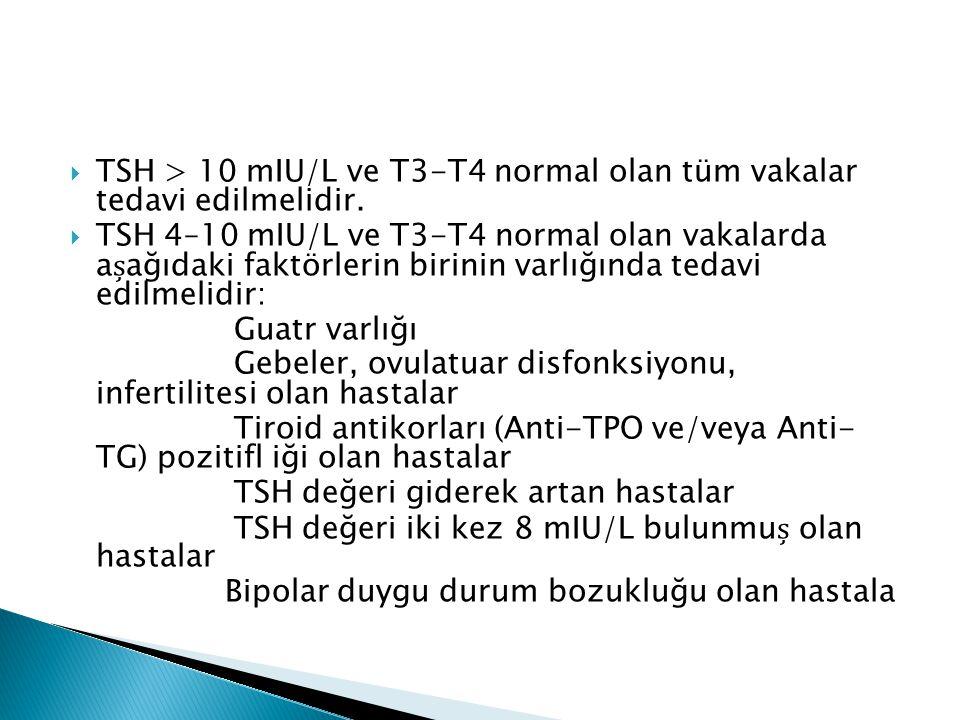  TSH > 10 mIU/L ve T3-T4 normal olan tüm vakalar tedavi edilmelidir.  TSH 4–10 mIU/L ve T3-T4 normal olan vakalarda aağıdaki faktörlerin birinin var