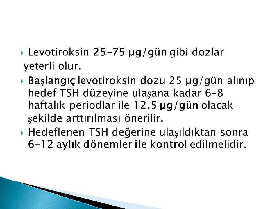  Levotiroksin 25–75 μg/gün gibi dozlar yeterli olur.  Balangıç levotiroksin dozu 25 μg/gün alınıp hedef TSH düzeyine ulaana kadar 6–8 haftalık perio