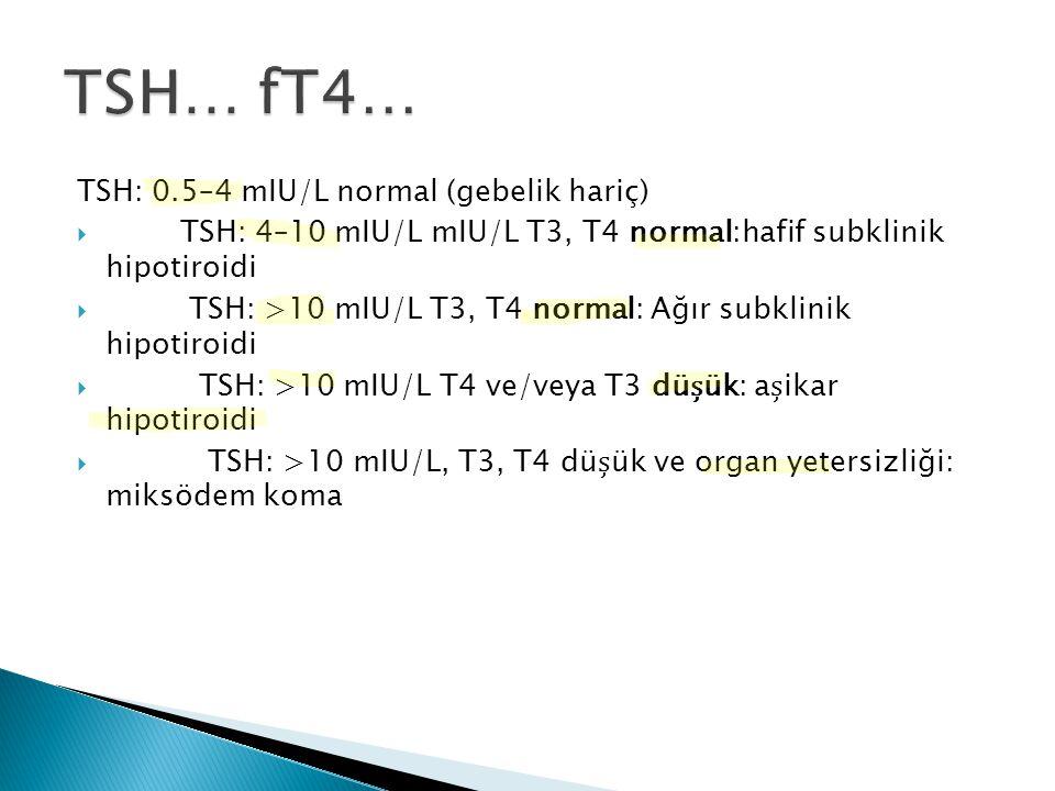 TSH: 0.5–4 mIU/L normal (gebelik hariç)  TSH: 4–10 mIU/L mIU/L T3, T4 normal:hafif subklinik hipotiroidi  TSH: >10 mIU/L T3, T4 normal: Ağır subklin