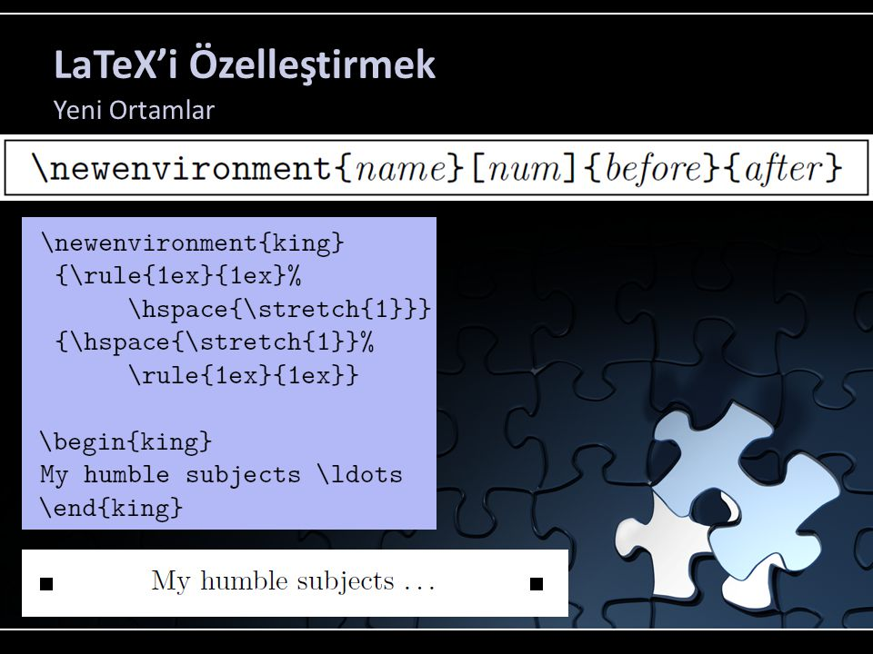 LaTeX'i Özelleştirmek Yeni Ortamlar