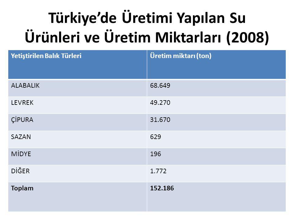 Türkiye'de Üretimi Yapılan Su Ürünleri ve Üretim Miktarları (2008) Yetiştirilen Balık TürleriÜretim miktarı (ton) ALABALIK68.649 LEVREK49.270 ÇİPURA31.670 SAZAN629 MİDYE196 DİĞER1.772 Toplam152.186