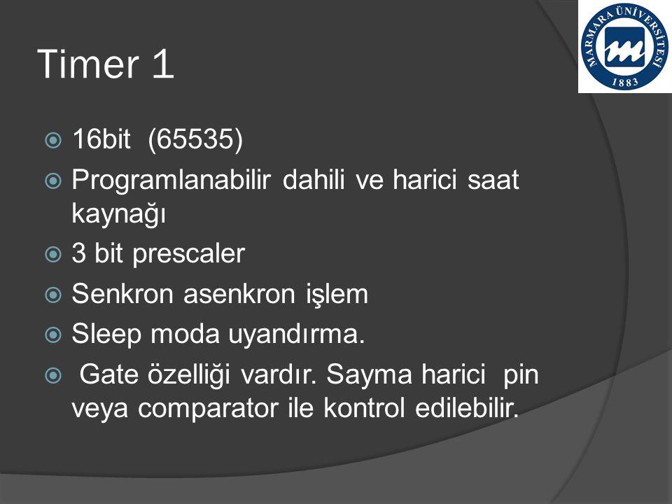 Timer 1  16bit (65535)  Programlanabilir dahili ve harici saat kaynağı  3 bit prescaler  Senkron asenkron işlem  Sleep moda uyandırma.  Gate öze