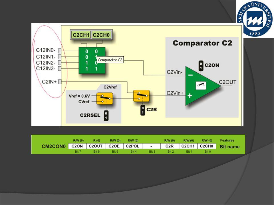  MC1OUT : C1OUT 'in kopyası  MC2OUT : C2OUT 'in kopyası  C1RSEL Comparator C1 Reference Select bit  1 - ayarlanabilir Cvref voltage referansıdır.