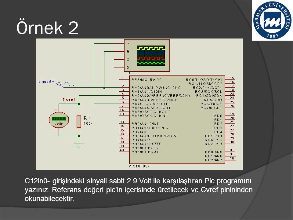 Örnek 2 C12in0- girişindeki sinyali sabit 2.9 Volt ile karşılaştıran Pic programını yazınız. Referans değeri pic'in içerisinde üretilecek ve Cvref pin