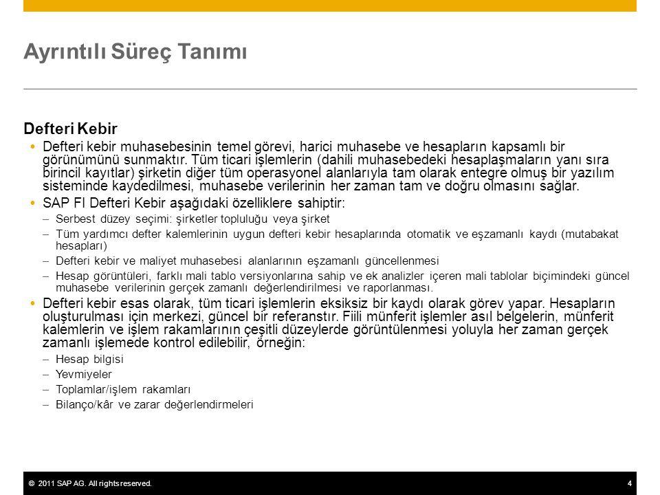 ©2011 SAP AG. All rights reserved.4 Ayrıntılı Süreç Tanımı Defteri Kebir  Defteri kebir muhasebesinin temel görevi, harici muhasebe ve hesapların kap
