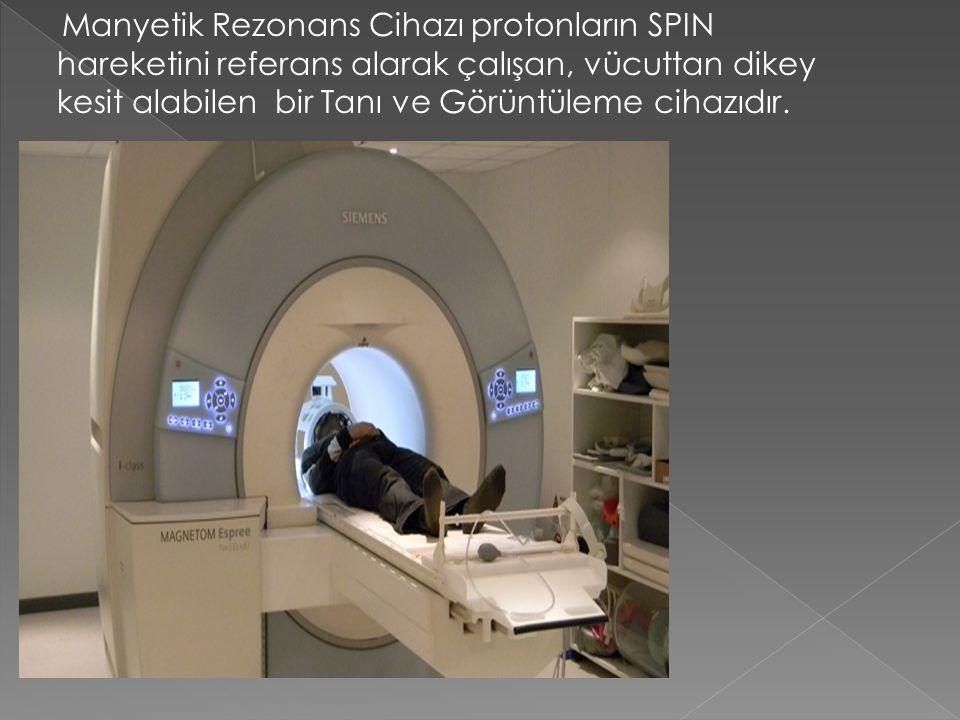 Manyetik Rezonans Cihazı protonların SPIN hareketini referans alarak çalışan, vücuttan dikey kesit alabilen bir Tanı ve Görüntüleme cihazıdır.