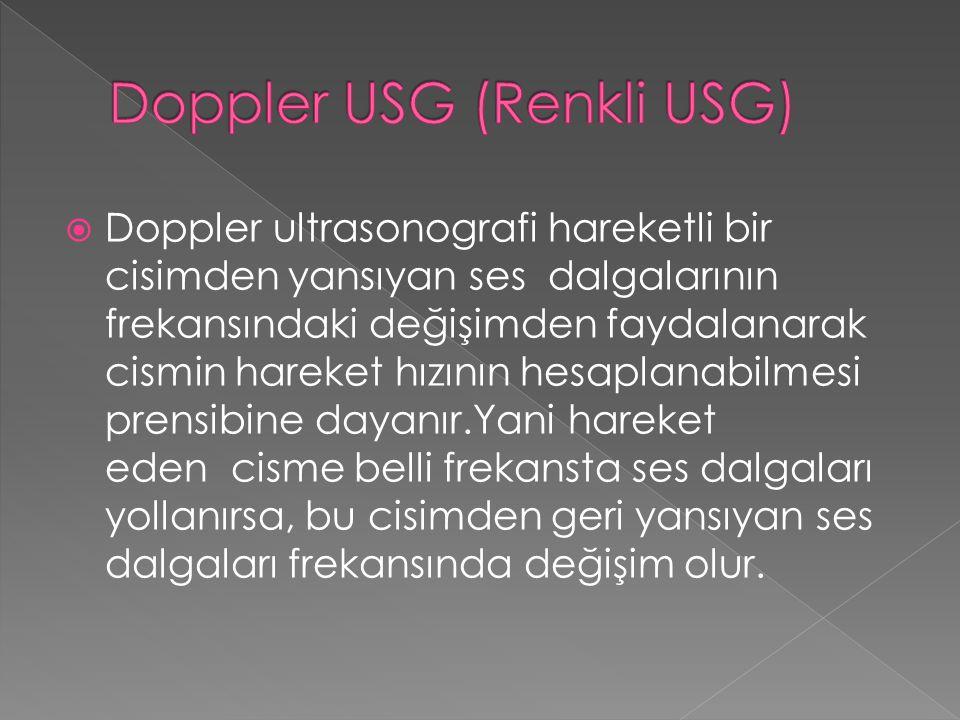  Doppler ultrasonografi hareketli bir cisimden yansıyan ses dalgalarının frekansındaki değişimden faydalanarak cismin hareket hızının hesaplanabilmes