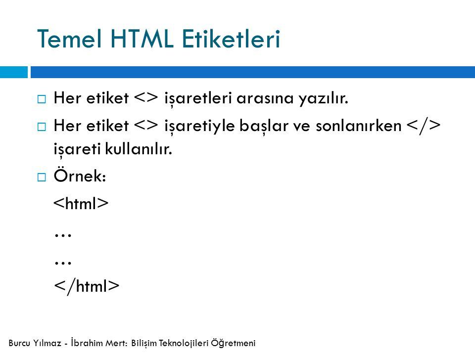 Temel HTML Etiketleri  Her etiket <> işaretleri arasına yazılır.
