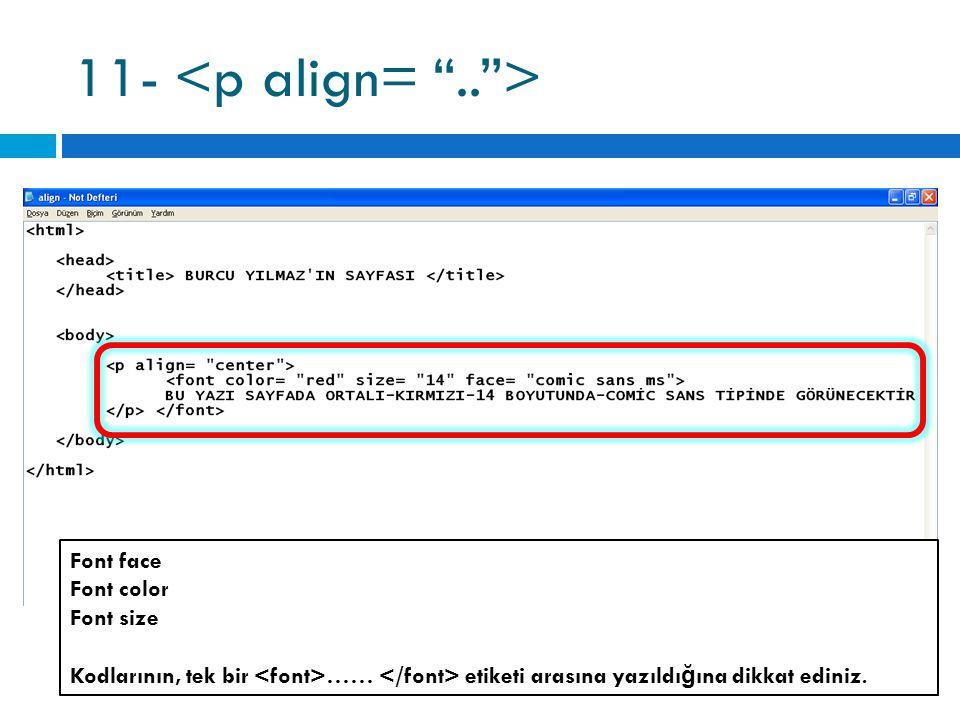 Font face Font color Font size Kodlarının, tek bir …… etiketi arasına yazıldı ğ ına dikkat ediniz.