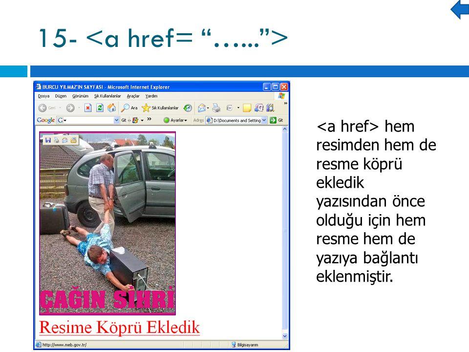 15- hem resimden hem de resme köprü ekledik yazısından önce olduğu için hem resme hem de yazıya bağlantı eklenmiştir.