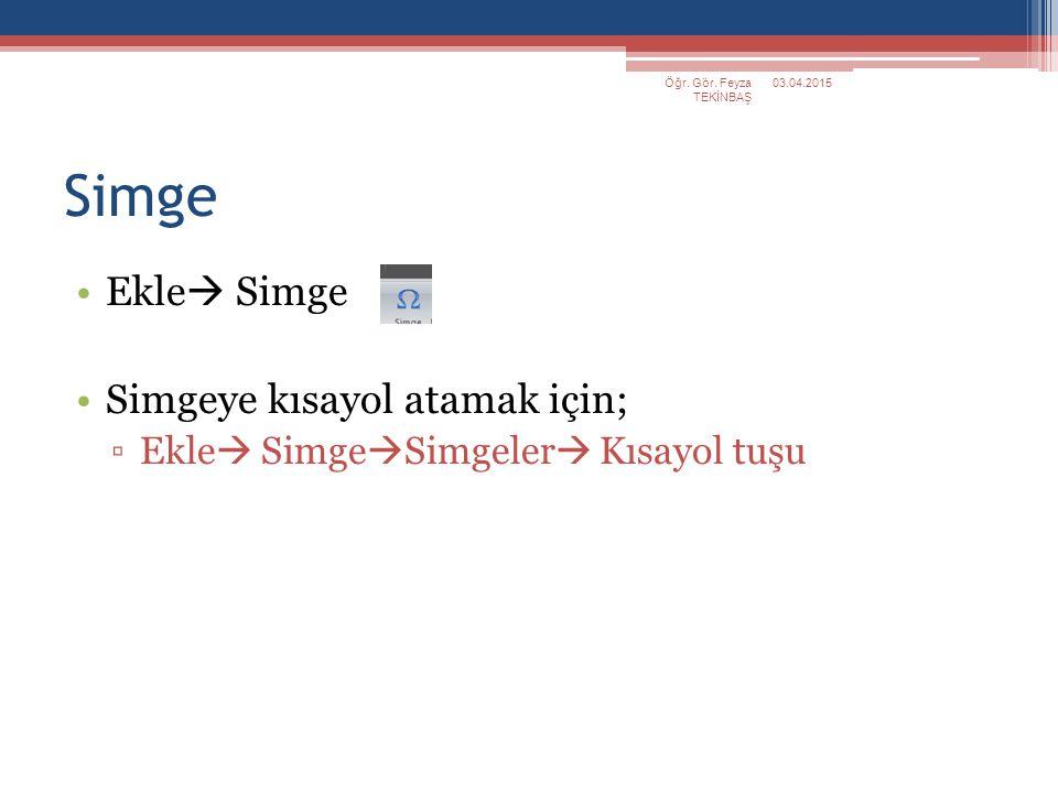 Simge Ekle  Simge Simgeye kısayol atamak için; ▫Ekle  Simge  Simgeler  Kısayol tuşu 03.04.2015Öğr. Gör. Feyza TEKİNBAŞ