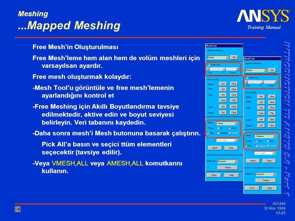 Training Manual 001289 30 Nov 1999 10-25 Meshing...Mapped Meshing Free Mesh'in Oluşturulması Free Mesh'leme hem alan hem de volüm meshleri için varsay