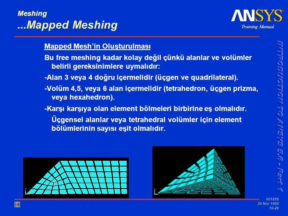 Training Manual 001289 30 Nov 1999 10-26 Meshing...Mapped Meshing Mapped Mesh'in Oluşturulması Bu free meshing kadar kolay değil çünkü alanlar ve volümler belirli gereksinimlere uymalıdır: -Alan 3 veya 4 doğru içermelidir (üçgen ve quadrilateral).