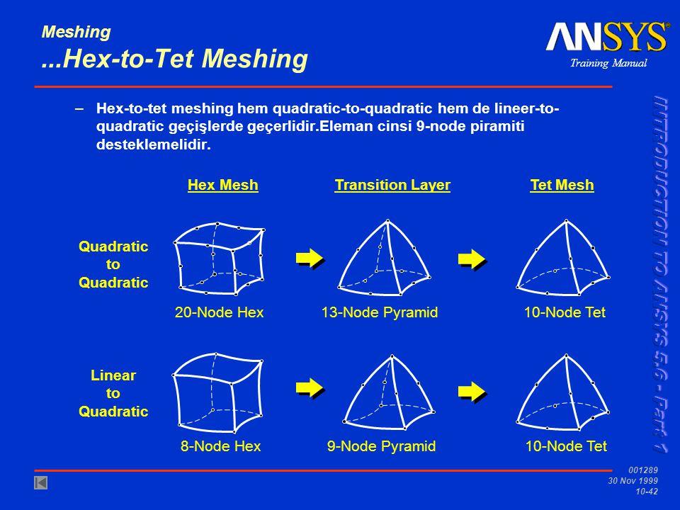 Training Manual 001289 30 Nov 1999 10-42 Meshing...Hex-to-Tet Meshing –Hex-to-tet meshing hem quadratic-to-quadratic hem de lineer-to- quadratic geçiş