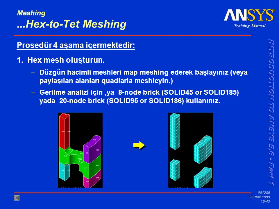 Training Manual 001289 30 Nov 1999 10-43 Meshing...Hex-to-Tet Meshing Prosedür 4 aşama içermektedir: 1.Hex mesh oluşturun.