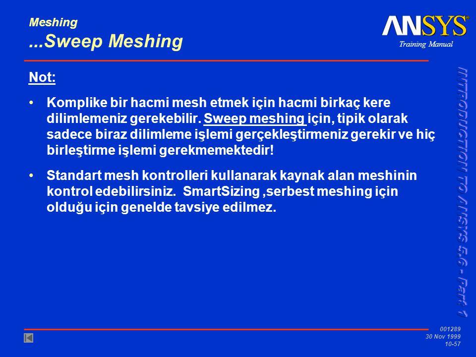 Training Manual 001289 30 Nov 1999 10-57 Meshing...Sweep Meshing Not: Komplike bir hacmi mesh etmek için hacmi birkaç kere dilimlemeniz gerekebilir.