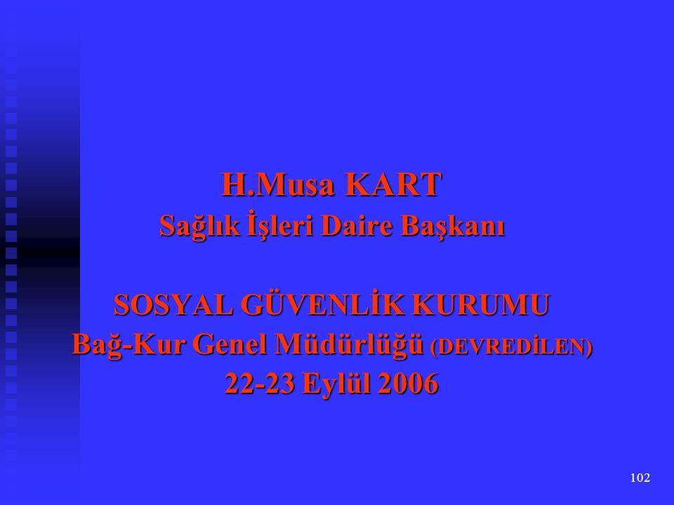 102 H.Musa KART Sağlık İşleri Daire Başkanı SOSYAL GÜVENLİK KURUMU Bağ-Kur Genel Müdürlüğü (DEVREDİLEN) 22-23 Eylül 2006