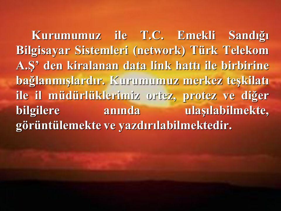 16 Kurumumuz ile T.C. Emekli Sandığı Bilgisayar Sistemleri (network) Türk Telekom A.Ş' den kiralanan data link hattı ile birbirine bağlanmışlardır. Ku