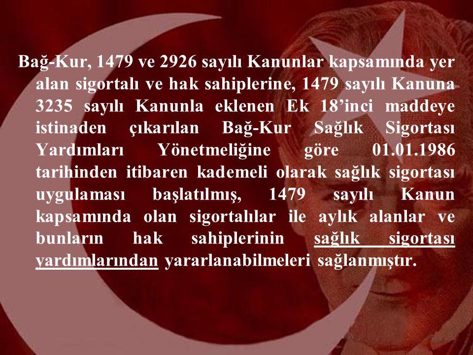 2 Bağ-Kur, 1479 ve 2926 sayılı Kanunlar kapsamında yer alan sigortalı ve hak sahiplerine, 1479 sayılı Kanuna 3235 sayılı Kanunla eklenen Ek 18'inci ma