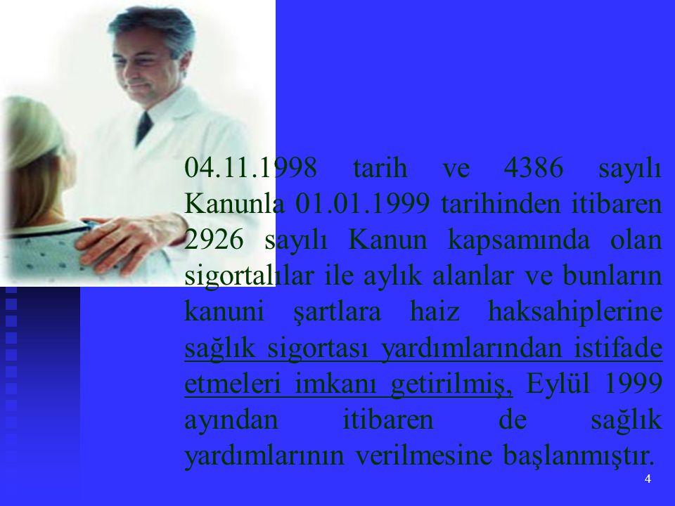 4 04.11.1998 tarih ve 4386 sayılı Kanunla 01.01.1999 tarihinden itibaren 2926 sayılı Kanun kapsamında olan sigortalılar ile aylık alanlar ve bunların