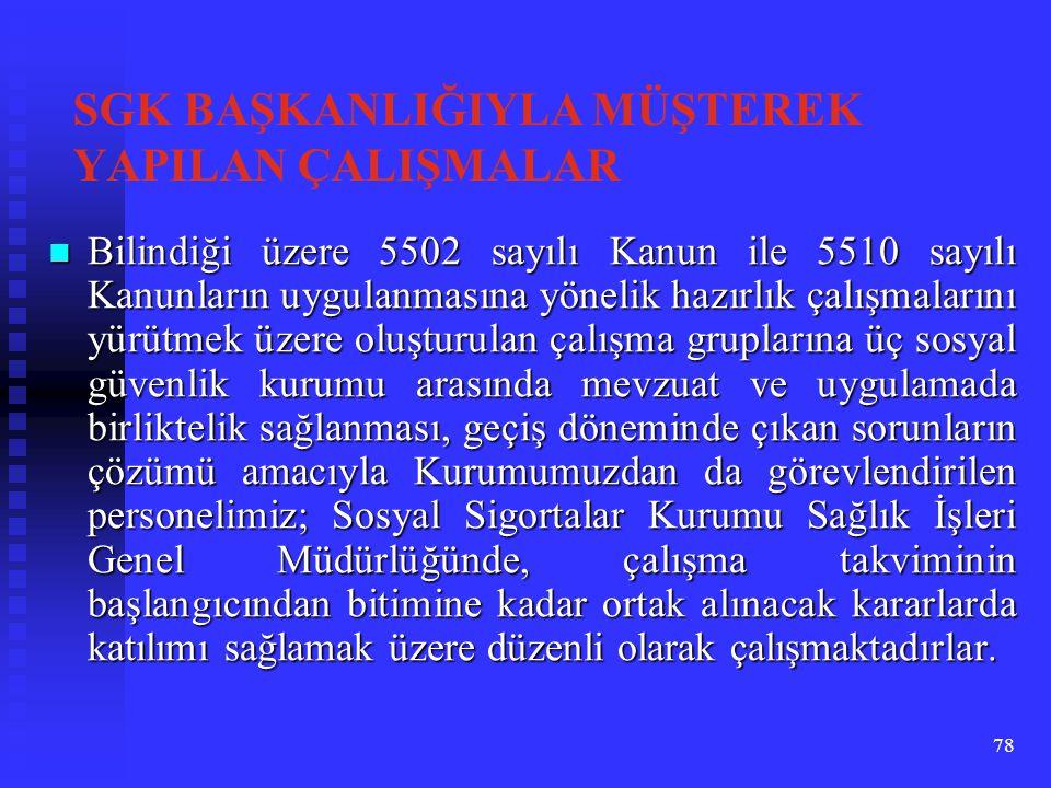 78 SGK BAŞKANLIĞIYLA MÜŞTEREK YAPILAN ÇALIŞMALAR Bilindiği üzere 5502 sayılı Kanun ile 5510 sayılı Kanunların uygulanmasına yönelik hazırlık çalışmala