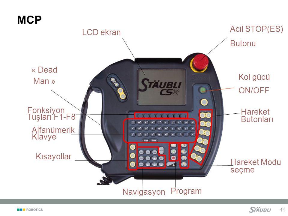 11 MCP Acil STOP(ES) Butonu « Dead Man » Kol gücü ON/OFF LCD ekran Hareket Butonları Alfanümerik Klavye Navigasyon Hareket Modu seçme Program Kısayollar Fonksiyon Tuşları F1-F8