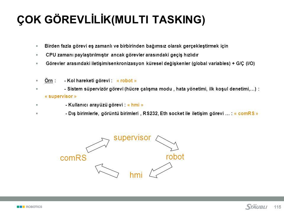 115 ÇOK GÖREVLİLİK(MULTI TASKING)  Birden fazla görevi eş zamanlı ve birbirinden bağımsız olarak gerçekleştirmek için  CPU zamanı paylaştırılmıştır ancak görevler arasındaki geçiş hızlıdır  Görevler arasındaki iletişim/senkronizasyon küresel değişkenler (global variables) + G/Ç (I/O)  Örn : - Kol hareketi görevi : « robot »  - Sistem süpervizör görevi (hücre çalışma modu, hata yönetimi, ilk koşul denetimi,…) : « supervisor »  - Kullanıcı arayüzü görevi : « hmi »  - Dış birimlerle, görüntü birimleri, RS232, Eth socket ile iletişim görevi … : « comRS » hmi supervisor robot comRS