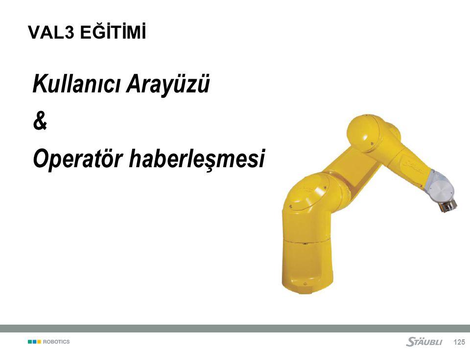 125 VAL3 EĞİTİMİ Kullanıcı Arayüzü & Operatör haberleşmesi