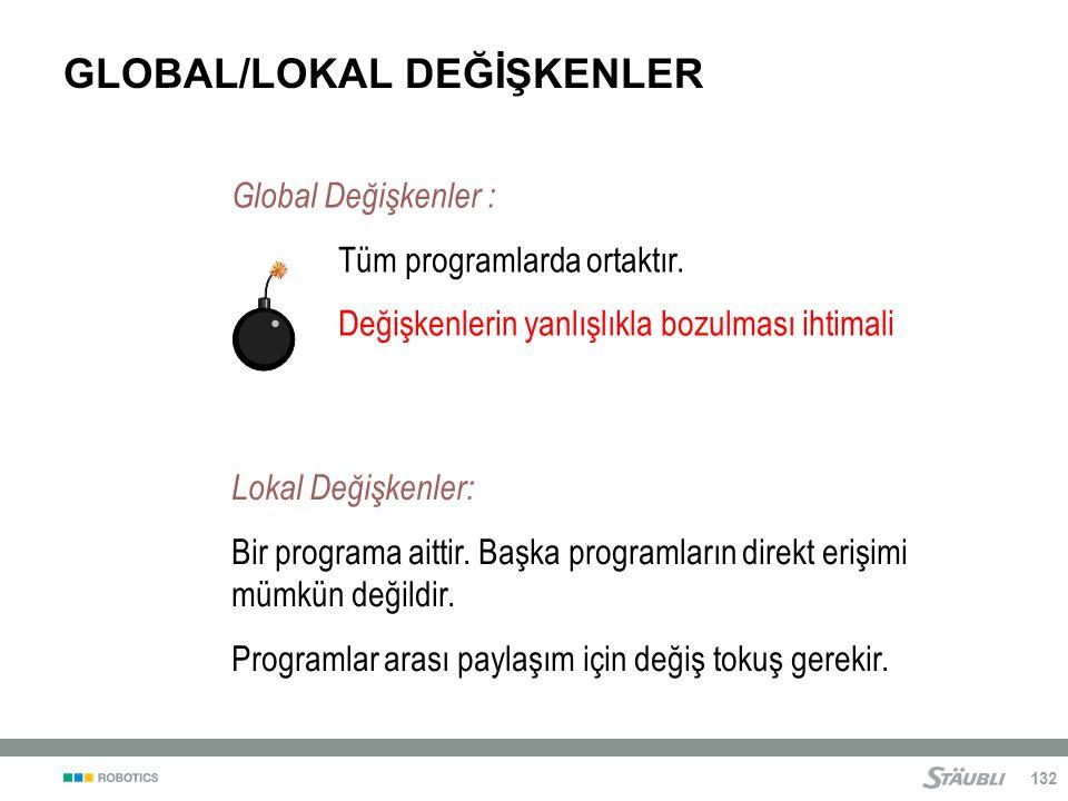 132 GLOBAL/LOKAL DEĞİŞKENLER Global Değişkenler : Tüm programlarda ortaktır.