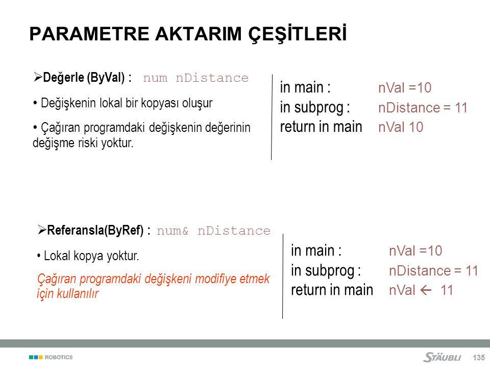 135  Değerle (ByVal) : num nDistance Değişkenin lokal bir kopyası oluşur Çağıran programdaki değişkenin değerinin değişme riski yoktur.