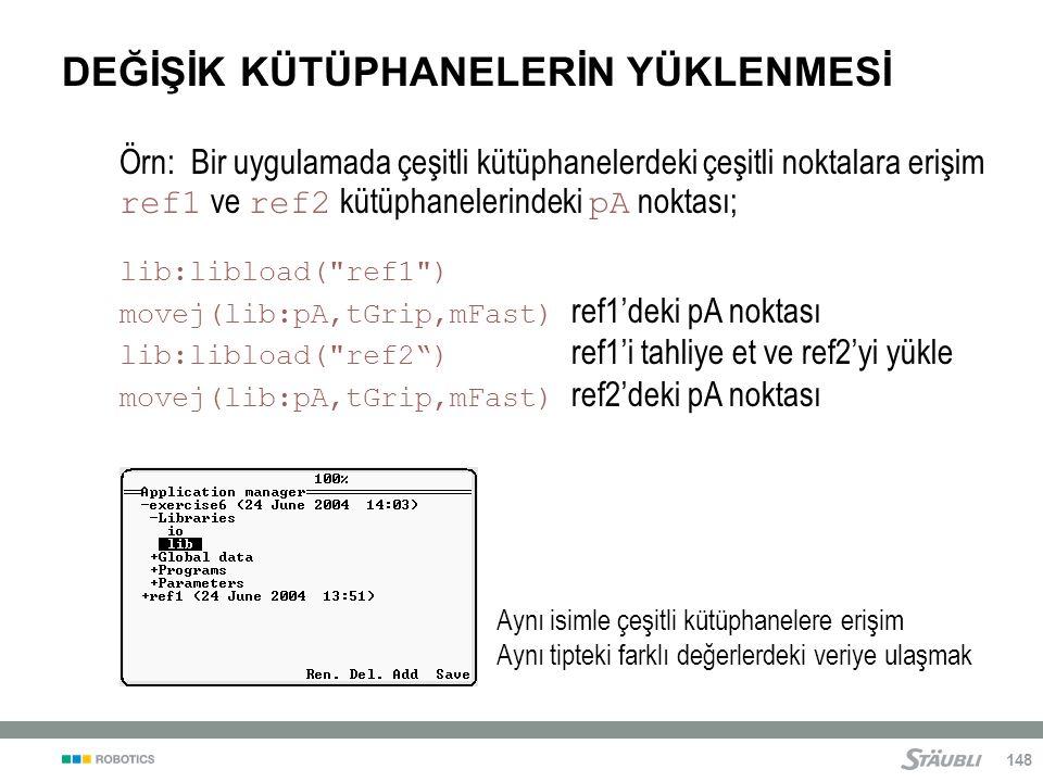148 DEĞİŞİK KÜTÜPHANELERİN YÜKLENMESİ Örn: Bir uygulamada çeşitli kütüphanelerdeki çeşitli noktalara erişim ref1 ve ref2 kütüphanelerindeki pA noktası; lib:libload( ref1 ) movej(lib:pA,tGrip,mFast) ref1'deki pA noktası lib:libload( ref2 ) ref1'i tahliye et ve ref2'yi yükle movej(lib:pA,tGrip,mFast) ref2'deki pA noktası Aynı isimle çeşitli kütüphanelere erişim Aynı tipteki farklı değerlerdeki veriye ulaşmak