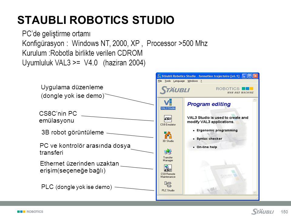 150 STAUBLI ROBOTICS STUDIO PC'de geliştirme ortamı Konfigürasyon : Windows NT, 2000, XP, Processor >500 Mhz Kurulum :Robotla birlikte verilen CDROM Uyumluluk VAL3 >= V4.0 (haziran 2004) Uygulama düzenleme (dongle yok ise demo) PC ve kontrolör arasında dosya transferi CS8C'nin PC emülasyonu PLC (dongle yok ise demo) Ethernet üzerinden uzaktan erişim(seçeneğe bağlı) 3B robot görüntüleme