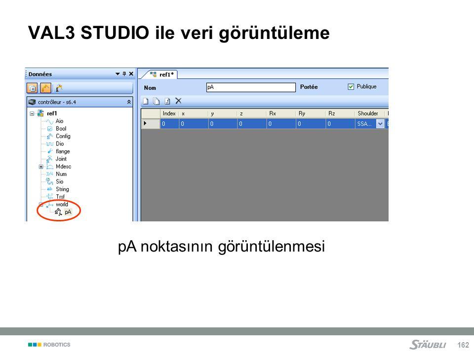 162 VAL3 STUDIO ile veri görüntüleme pA noktasının görüntülenmesi