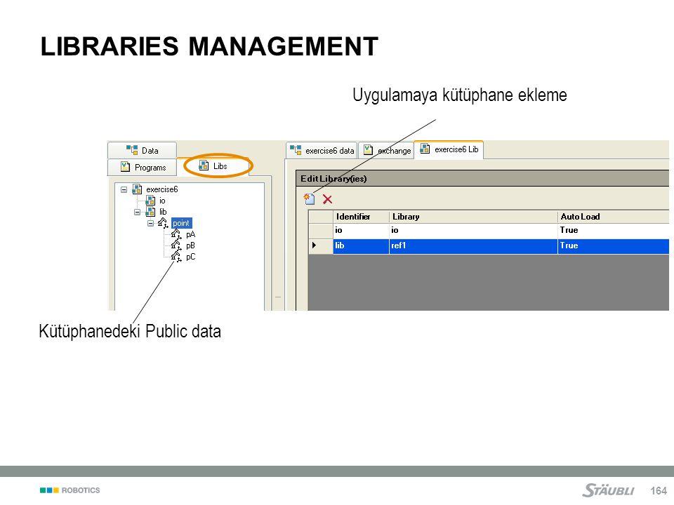 164 LIBRARIES MANAGEMENT Uygulamaya kütüphane ekleme Kütüphanedeki Public data