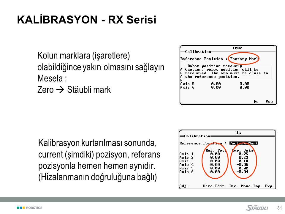 31 KALİBRASYON - RX Serisi Kolun marklara (işaretlere) olabildiğince yakın olmasını sağlayın Mesela : Zero  Stäubli mark Kalibrasyon kurtarılması sonunda, current (şimdiki) pozisyon, referans pozisyonla hemen hemen aynıdır.