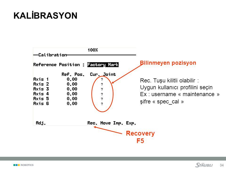 34 ???????????.KALİBRASYON Bilinmeyen pozisyon Recovery F5 Rec.