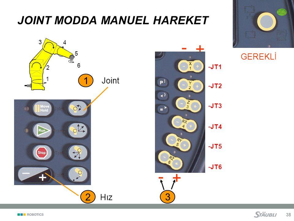 38 JOINT MODDA MANUEL HAREKET 3 - + - + 2 Hız GEREKLİ 1 2 3 4 5 6 1 Joint -JT6 -JT1 -JT2 -JT3 -JT4 -JT5