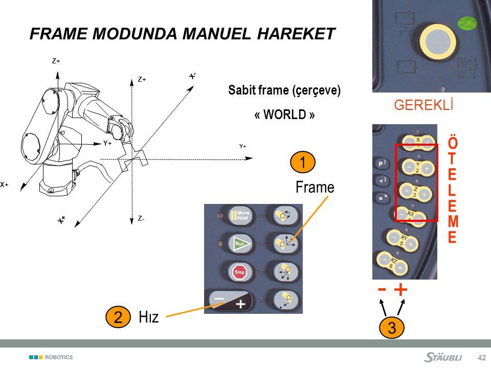 42 FRAME MODUNDA MANUEL HAREKET - + 2 Hız GEREKLİ Z+ Y+ X+ X- Y+ X+ Z- Z+ 1 Frame ÖTELEMEÖTELEME Sabit frame (çerçeve) « WORLD » 3
