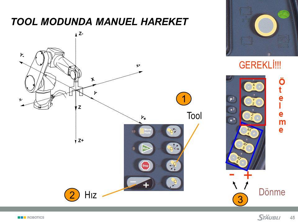 45 TOOL MODUNDA MANUEL HAREKET Z X Y X+ X- Y+ Y- Z+ Z- Dönme 3 - + 2 Hız GEREKLİ!!.