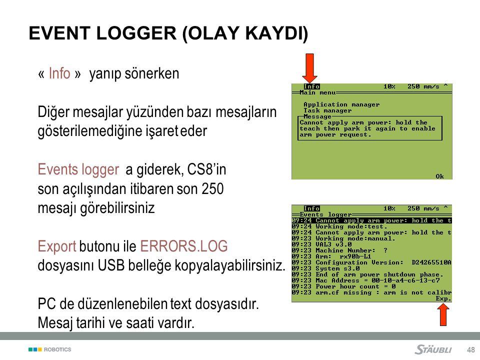 48 EVENT LOGGER (OLAY KAYDI) « Info » yanıp sönerken Diğer mesajlar yüzünden bazı mesajların gösterilemediğine işaret eder Events logger a giderek, CS8'in son açılışından itibaren son 250 mesajı görebilirsiniz Export butonu ile ERRORS.LOG dosyasını USB belleğe kopyalayabilirsiniz.