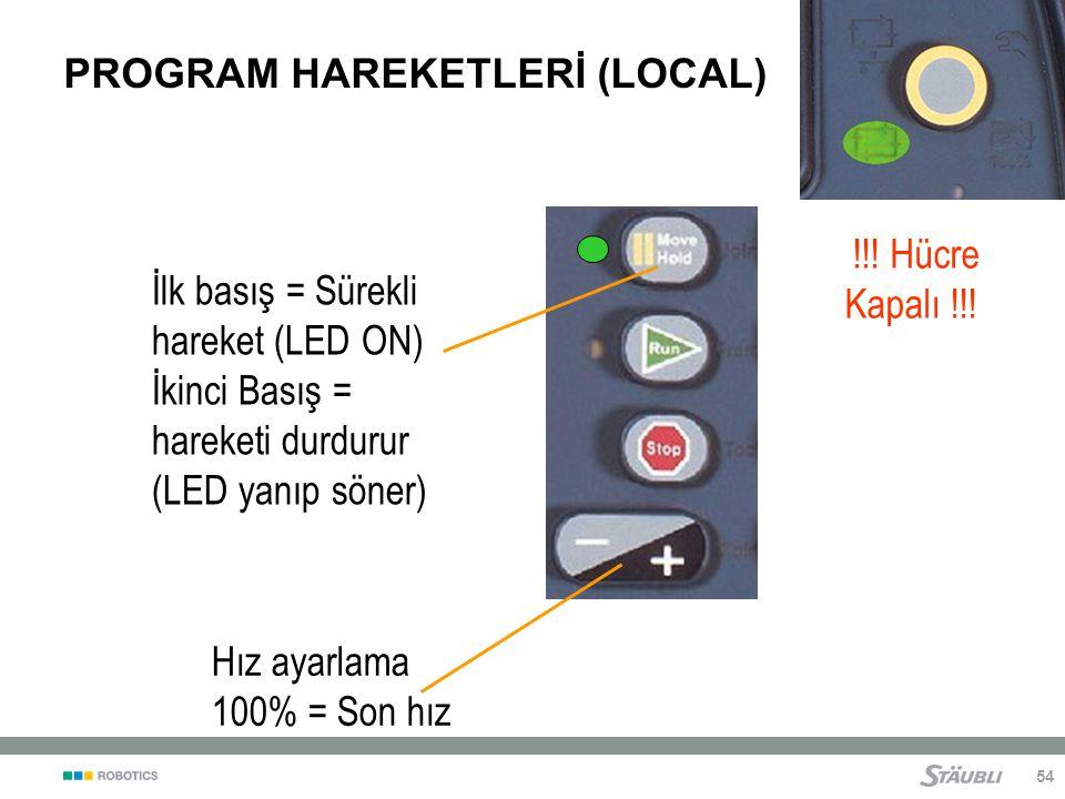 54 PROGRAM HAREKETLERİ (LOCAL) İlk basış = Sürekli hareket (LED ON) İkinci Basış = hareketi durdurur (LED yanıp söner) Hız ayarlama 100% = Son hız !!.