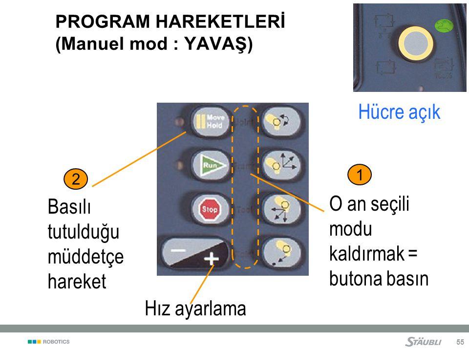 55 PROGRAM HAREKETLERİ (Manuel mod : YAVAŞ) O an seçili modu kaldırmak = butona basın Basılı tutulduğu müddetçe hareket 1 2 Hız ayarlama Hücre açık