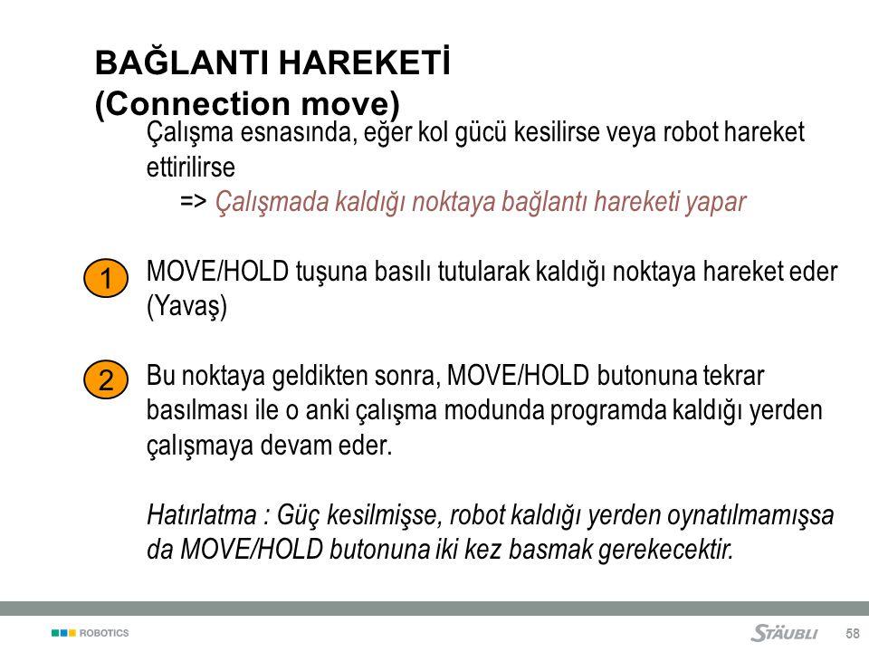58 BAĞLANTI HAREKETİ (Connection move) Çalışma esnasında, eğer kol gücü kesilirse veya robot hareket ettirilirse => Çalışmada kaldığı noktaya bağlantı hareketi yapar MOVE/HOLD tuşuna basılı tutularak kaldığı noktaya hareket eder (Yavaş) Bu noktaya geldikten sonra, MOVE/HOLD butonuna tekrar basılması ile o anki çalışma modunda programda kaldığı yerden çalışmaya devam eder.