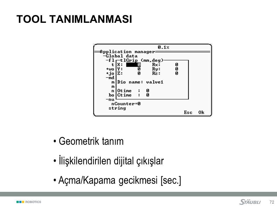 72 TOOL TANIMLANMASI Geometrik tanım İlişkilendirilen dijital çıkışlar Açma/Kapama gecikmesi [sec.]