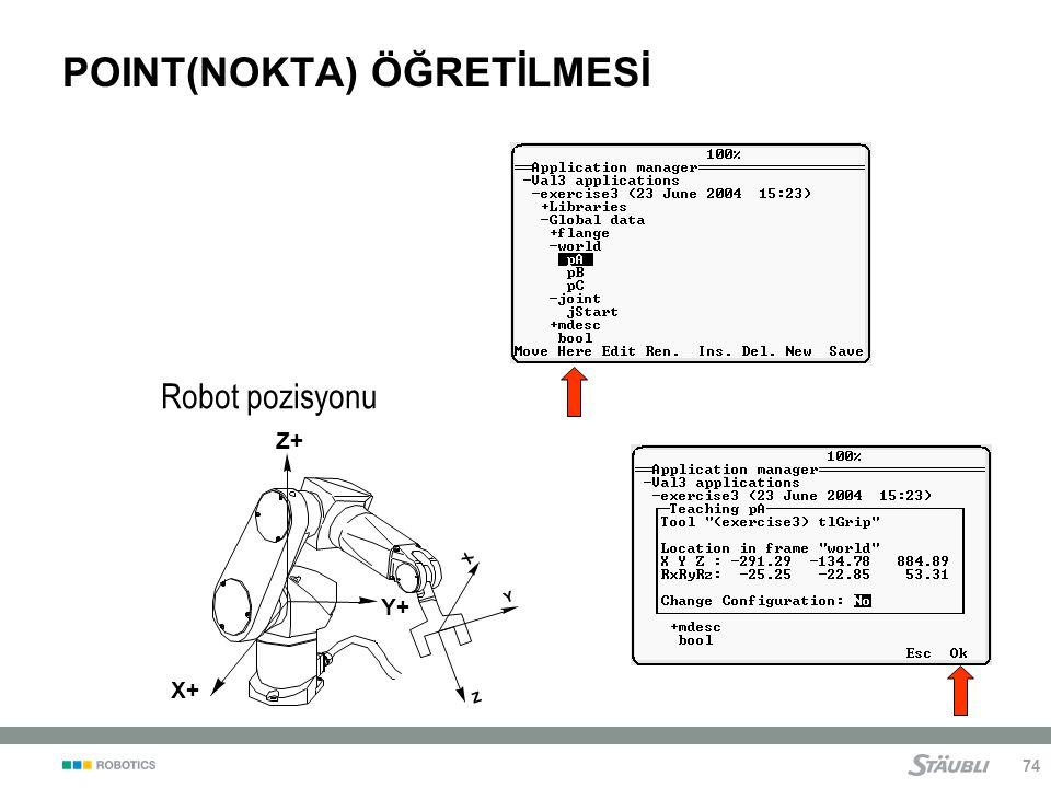74 POINT(NOKTA) ÖĞRETİLMESİ Robot pozisyonu