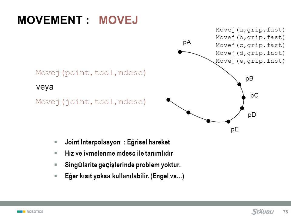 78 MOVEMENT : MOVEJ pA pB pC pD pE  Joint Interpolasyon : Eğrisel hareket  Hız ve ivmelenme mdesc ile tanımlıdır  Sing ü larite ge ç işlerinde problem yoktur.