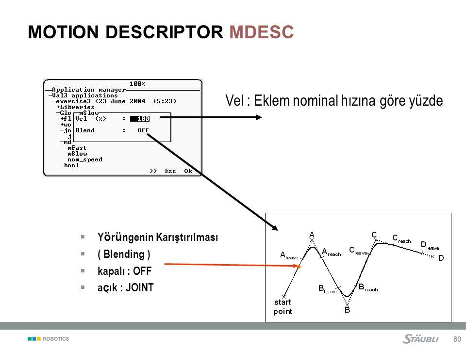 80 MOTION DESCRIPTOR MDESC Vel : Eklem nominal hızına göre yüzde  Y ö r ü ngenin Karıştırılması  ( Blending )  kapalı : OFF  a ç ık : JOINT