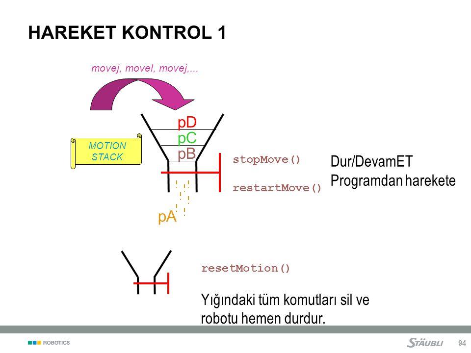 94 HAREKET KONTROL 1 resetMotion() Yığındaki tüm komutları sil ve robotu hemen durdur.