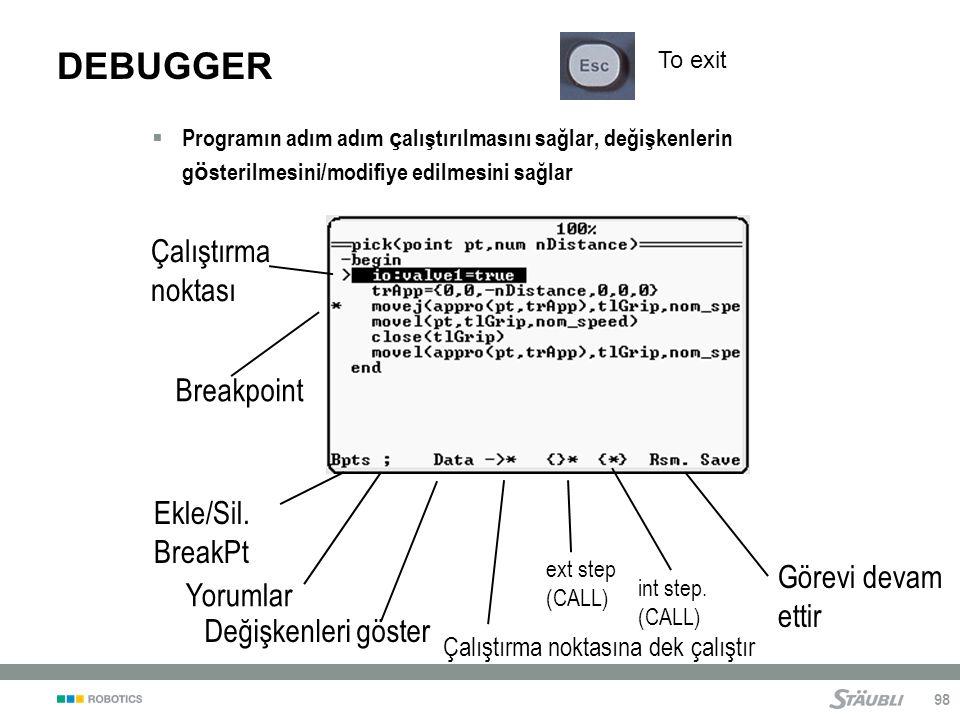 98 DEBUGGER  Programın adım adım ç alıştırılmasını sağlar, değişkenlerin g ö sterilmesini/modifiye edilmesini sağlar Yorumlar Çalıştırma noktası Değişkenleri göster Görevi devam ettir ext step (CALL) int step.